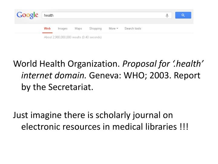 World Health Organization.