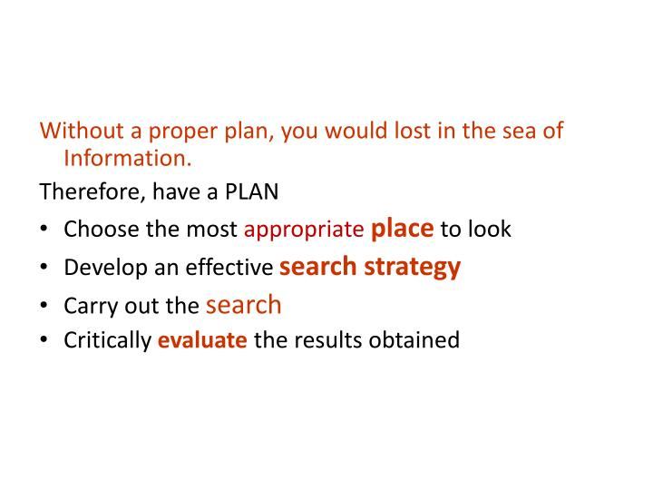 Without a proper plan, you would lost in the sea of Information.