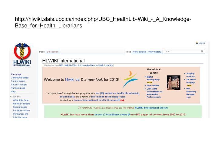 http://hlwiki.slais.ubc.ca/index.php/UBC_HealthLib-Wiki_-_A_Knowledge-Base_for_Health_Librarians
