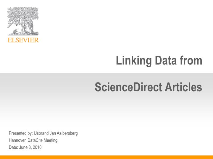 Linking data from sciencedirect articles
