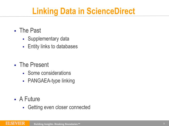 Linking Data in ScienceDirect