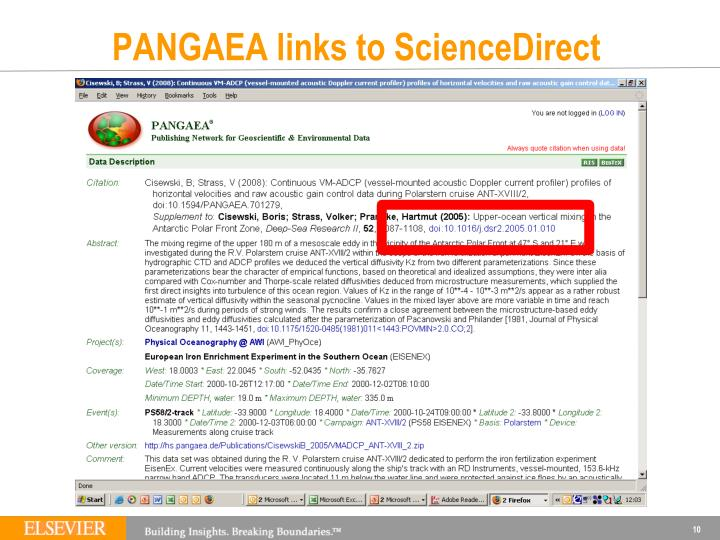 PANGAEA links to ScienceDirect