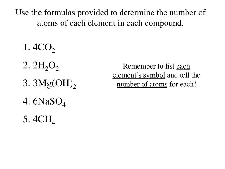 Use the formulas provided to determine the number of atoms of each element in each compound.