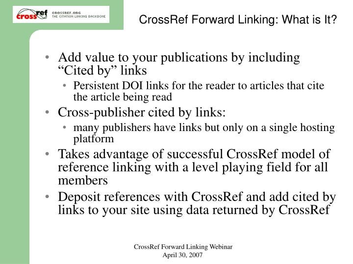 CrossRef Forward Linking: What is It?