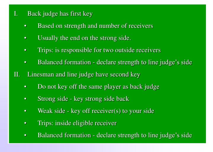 Back judge has first key