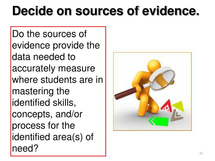 Decide on sources of evidence.