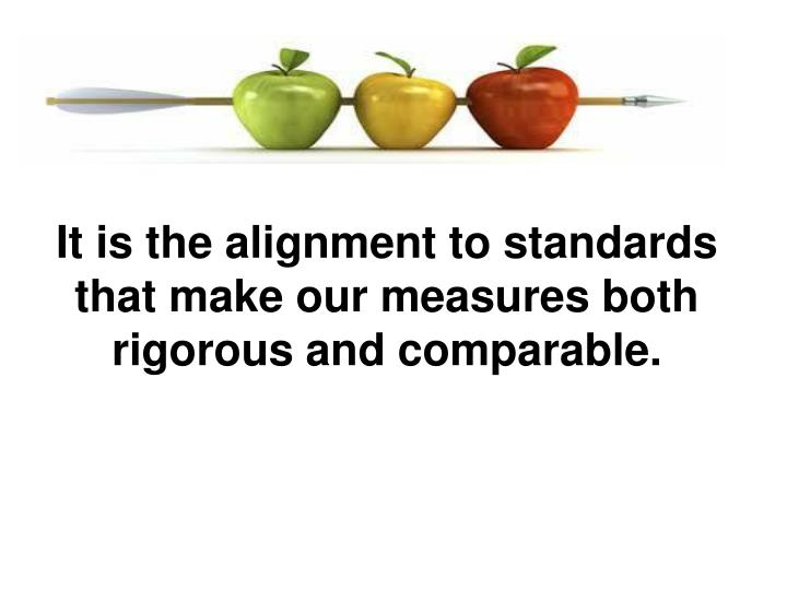 It is the alignment to standards that make our measures both rigorous and comparable.
