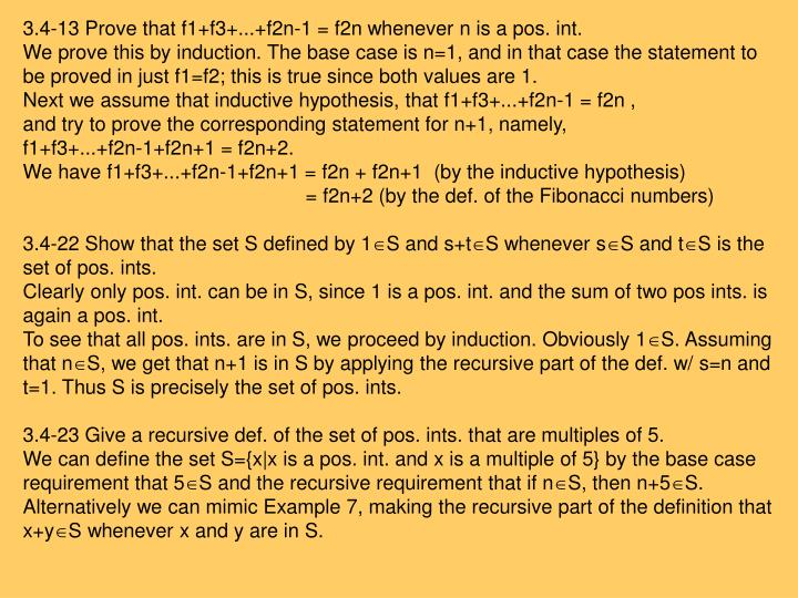 3.4-13 Prove that f1+f3+...+f2n-1 = f2n whenever n is a pos. int.