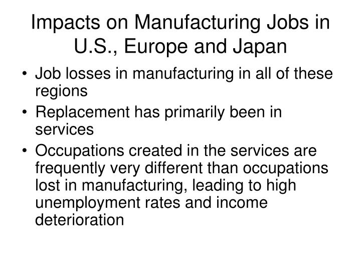 Impacts on Manufacturing Jobs in U.S., Europe and Japan