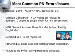 most common pn errors issues