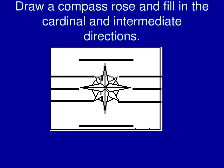Draw a compass rose and fill in the cardinal and intermediate directions.