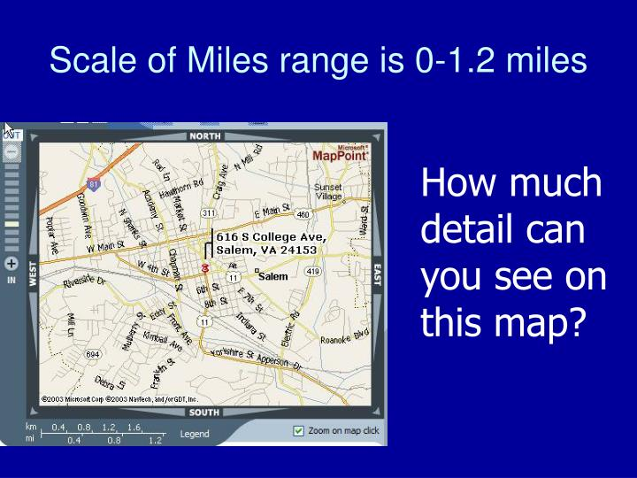 Scale of Miles range is 0-1.2 miles