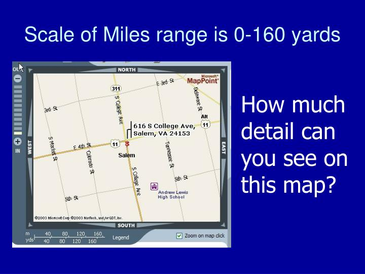 Scale of Miles range is 0-160 yards