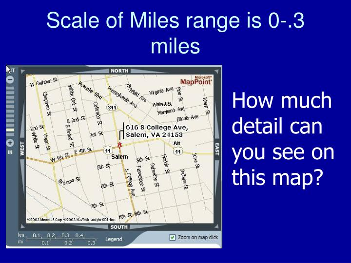Scale of Miles range is 0-.3 miles