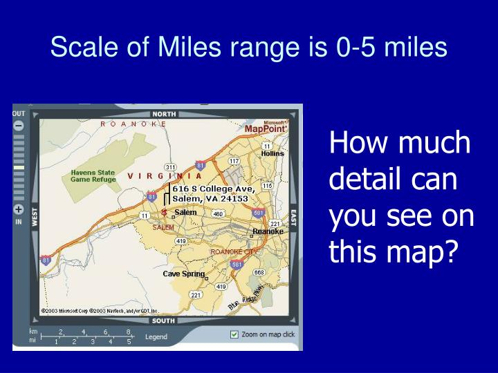 Scale of Miles range is 0-5 miles