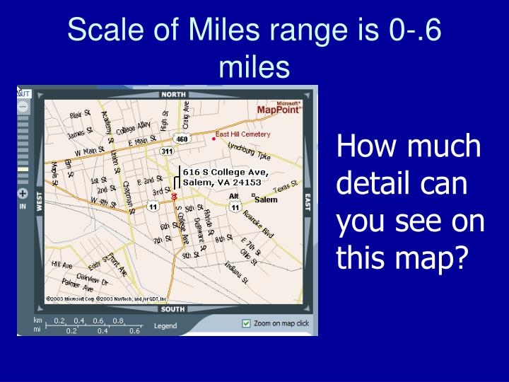 Scale of Miles range is 0-.6 miles