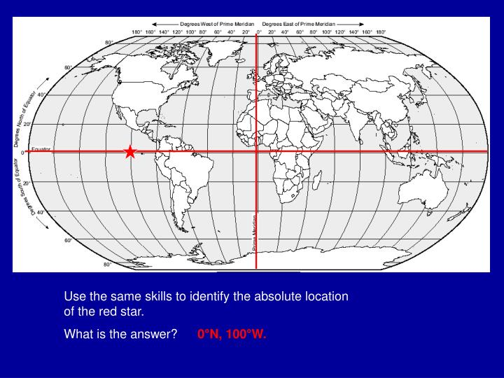 Use the same skills to identify the absolute location of the red star.