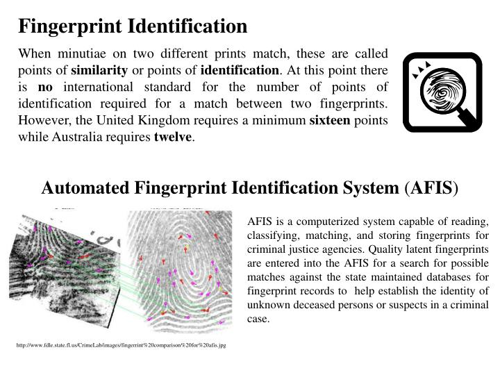 Automated Fingerprint Identification System