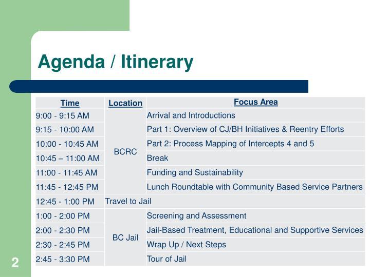 Agenda / Itinerary
