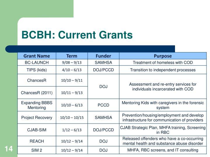 BCBH: Current Grants