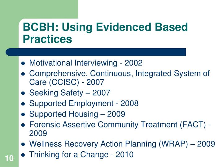 BCBH: Using Evidenced Based Practices