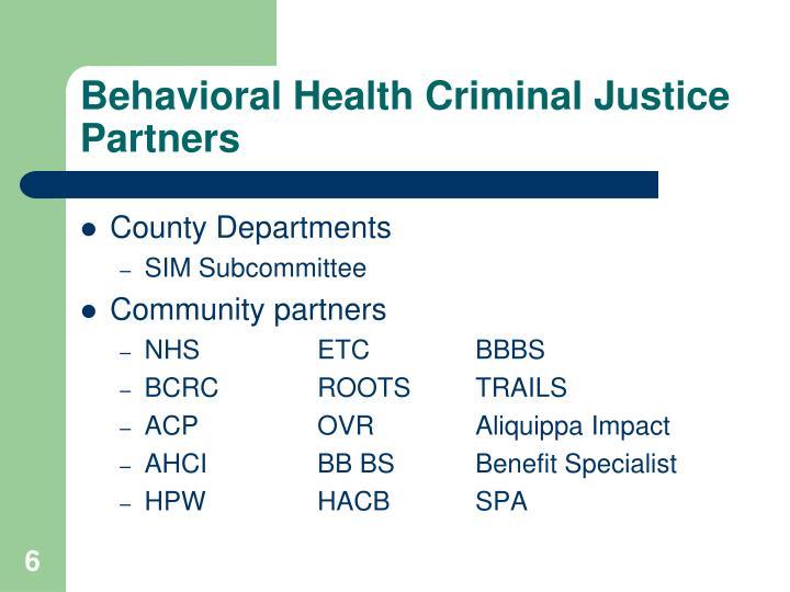 Behavioral Health Criminal Justice Partners