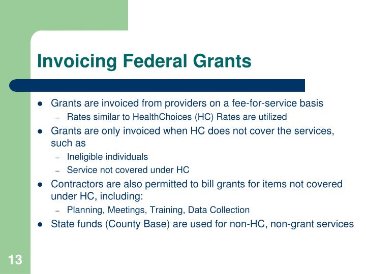 Invoicing Federal Grants