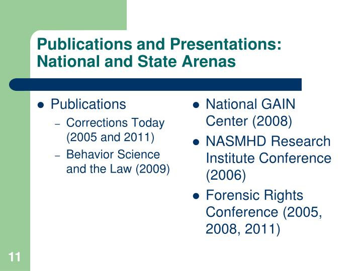 Publications and Presentations: National and State Arenas