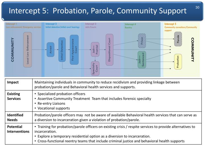 Intercept 5:  Probation, Parole, Community Support