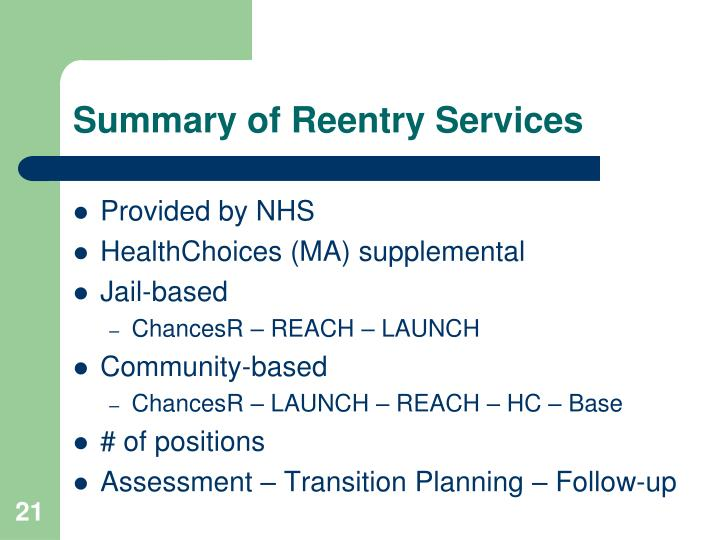 Summary of Reentry Services