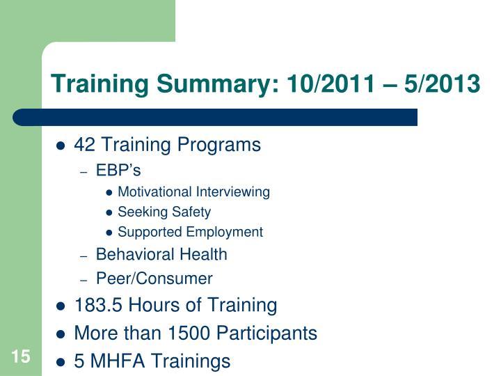 Training Summary: 10/2011 – 5/2013