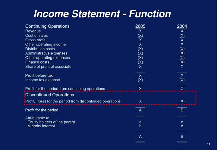 Income Statement - Function