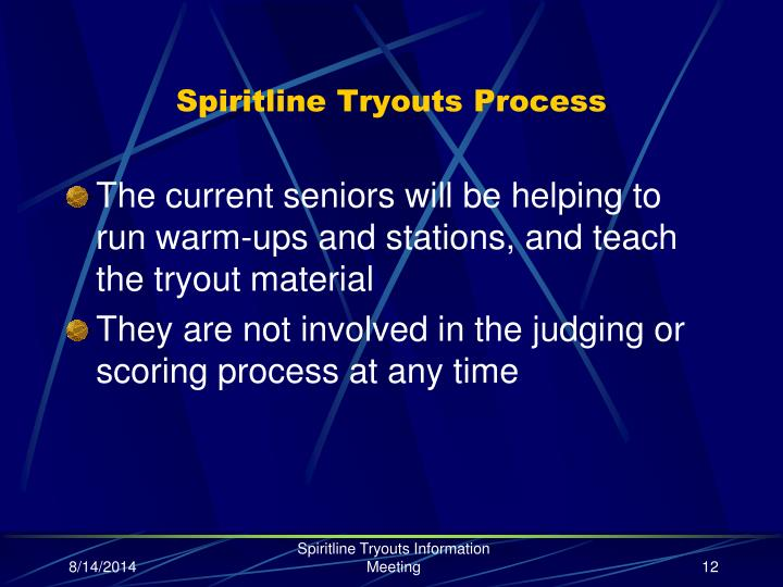 Spiritline Tryouts Process