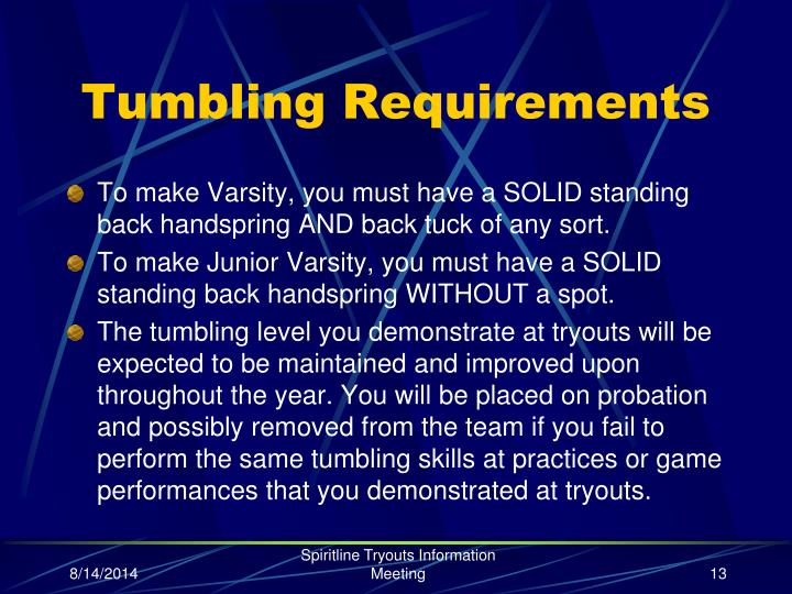 Tumbling Requirements