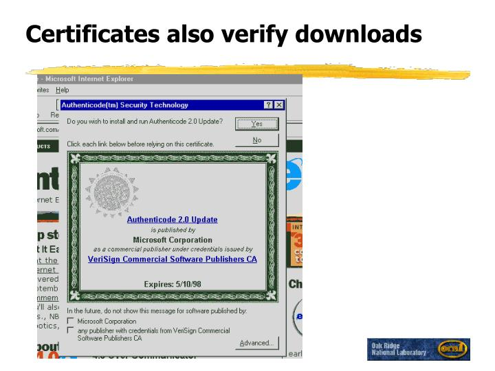 Certificates also verify downloads