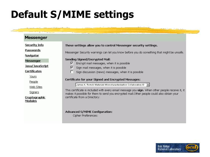 Default S/MIME settings