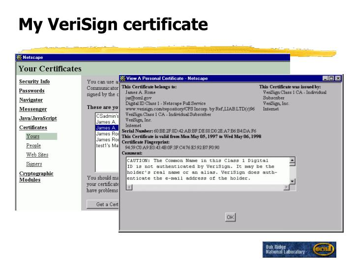 My verisign certificate