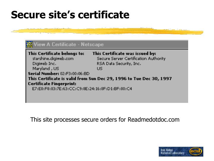 Secure site's certificate
