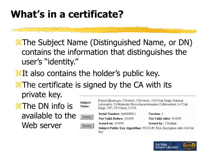 What's in a certificate?