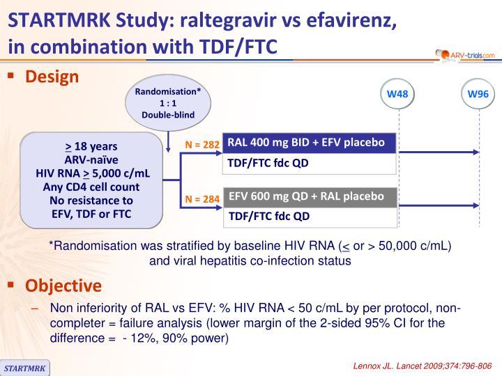 STARTMRK Study: raltegravir vs efavirenz,