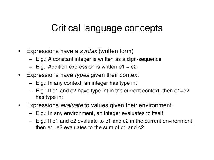 Critical language concepts