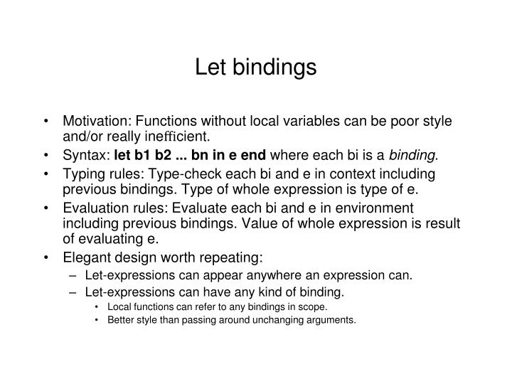 Let bindings
