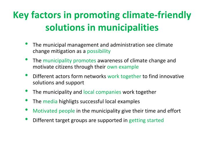 Key factors in promoting climate-friendly