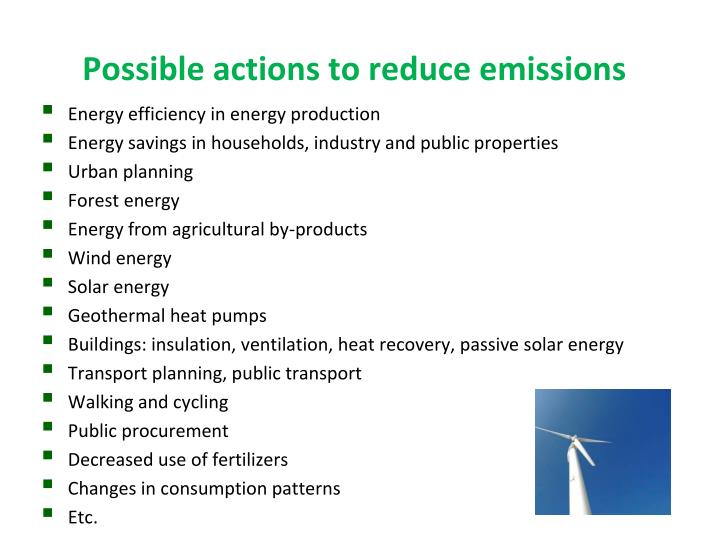 Possible actions to reduce emissions