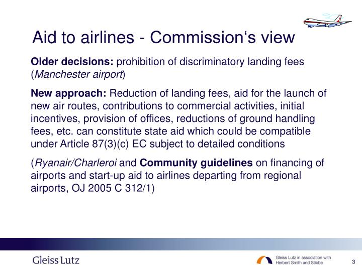 Aid to airlines commission s view