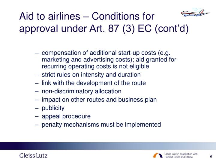 Aid to airlines – Conditions for