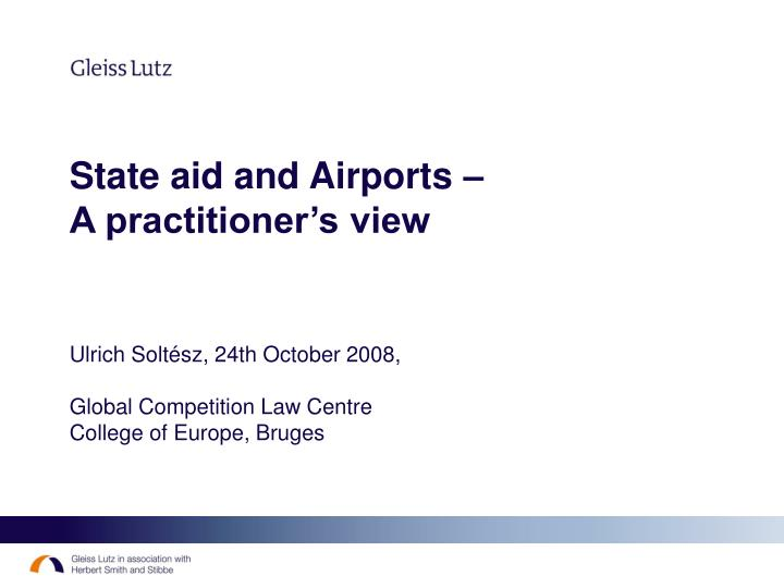 State aid and Airports –