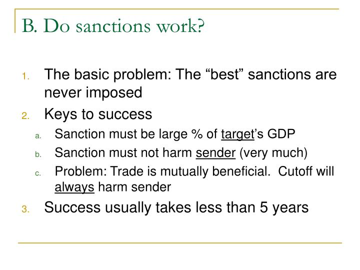 B. Do sanctions work?
