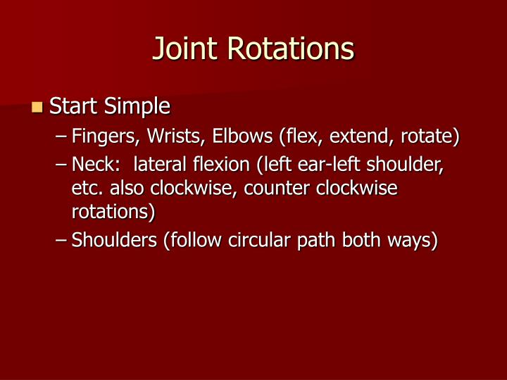 Joint rotations