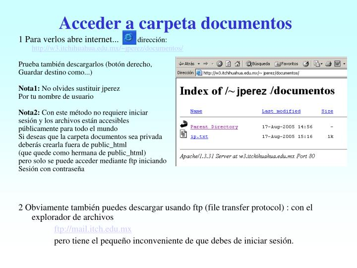 Acceder a carpeta documentos